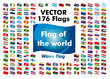 Flag of the world (flickering flag) | Flag of 176 countries | Vector data