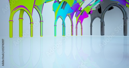 Leinwanddruck Bild Abstract white and colored gradient  gothic interior. 3D illustration and rendering.