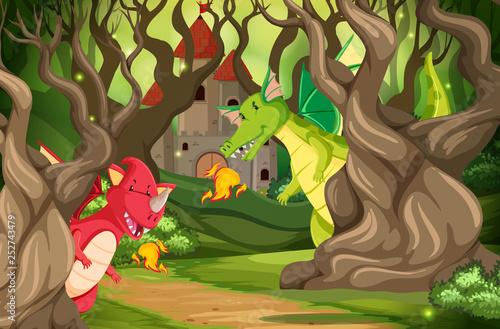 Dragons in castle wood scene