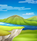 Beautiful cliff scene with lake