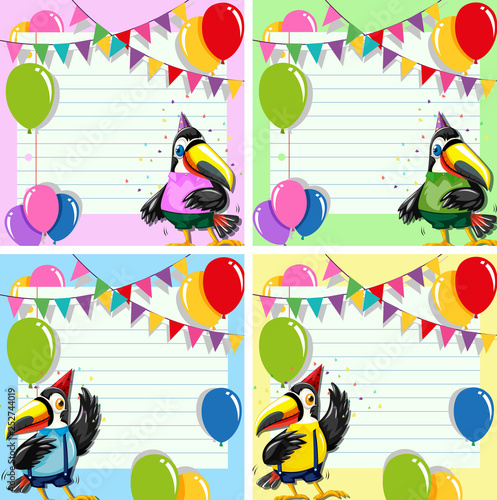Set of toucan on blank note