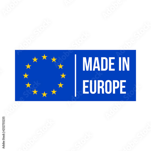 Made in Europe quality product certificate label. Vector made in EU stars blue flag warranty