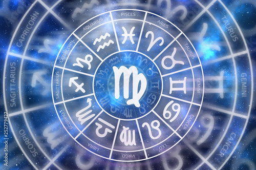 Zodiac Virgo symbol inside of horoscope circle © andriano_cz