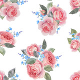 Watercolor rose floral vector pattern - 252780229