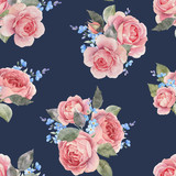 Watercolor rose floral vector pattern - 252780277