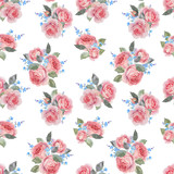 Watercolor rose floral vector pattern - 252780400