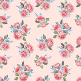 Watercolor rose floral vector pattern - 252780456