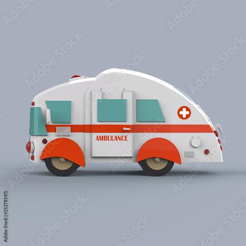 Ambulance bus on grey background. 3d render © Yevhen