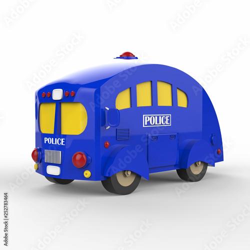Blue police bus on white background. 3d render © Yevhen