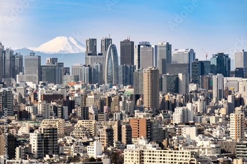 mata magnetyczna Tokyo skyline and Mountain fuji in Japan.