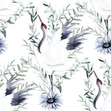 Watercolor print with crane of eucalyptus branch. Japanese style. Hand drawn illustration. Seamless pattern - 252803066