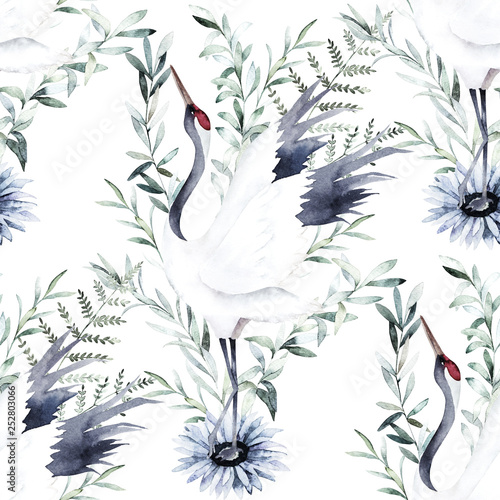 Watercolor print with crane of eucalyptus branch. Japanese style. Hand drawn illustration. Seamless pattern © natikka