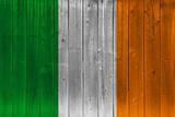 Ireland flag painted on old wood plank
