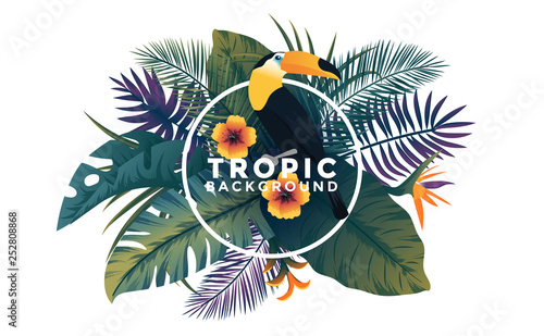 Tropical background with jungle plants. Frame with tropic leaves and Toucan bird, can be used as Exotic wallpaper, Greeting card, poster, placard. Vector Illustration - 252808868