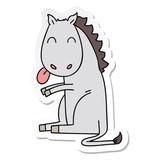 Fototapeta Konie - sticker of a quirky hand drawn cartoon horse © lineartestpilot