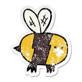 distressed sticker of a cartoon bee