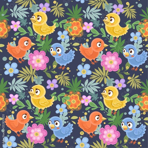 obraz lub plakat Seamless decorative ornament of birds and flowers on a dark blue background