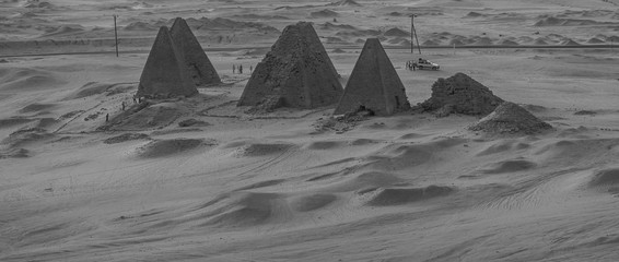 Black and white photo from above of the pyramids near Karima, Sudan