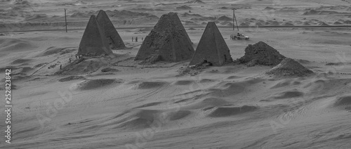 Black and white photo from above of the pyramids near Karima, Sudan © Frank