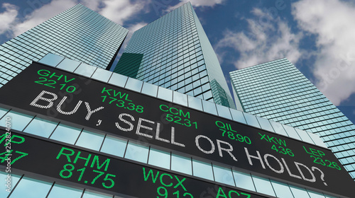 Buy Sell or Hold Stock Ticker Buildings 3d Illustration - 252824070