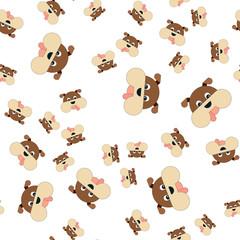 Seamless pattern of dogs head.