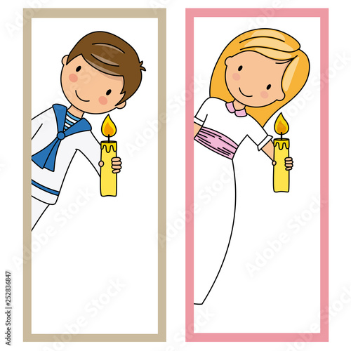Two cards of first communion girl and boy