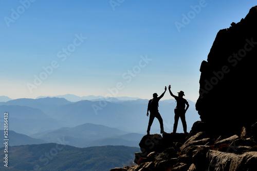 summit mountains, amazing landscape and success concept