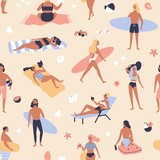 Seamless pattern with people lying on beach and sunbathing, reading books, surfers carrying surfboards. Backdrop with men and women relaxing at summer resort. Vector illustration for fabric print.
