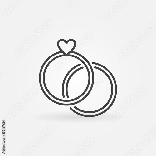 Two Engagment Rings Vector Concept Line Icon Wedding Rings Symbol