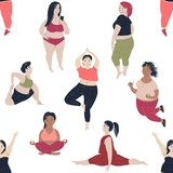 Seamless pattern with women of different size and body proportions. - 252869077