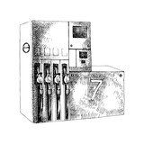 Hand drawn gas station with petrol pumps - 252869415