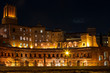 Night view of Trajan's market, the ruins of commercial buildings in the forum of Trajan in Rome. Italy