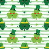 Saint Patrick's Day striped seamless pattern background with cute cartoon shamrock, clover characters in green leprechaun hats. - 252873042