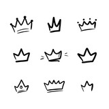 Set, collection of vector doodle, hand drawn crowns isolated on white background. - 252873057