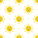 Vector seamless pattern background with cute happy and smiling cartoon sun character and dots for summer design. - 252873092