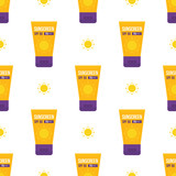 Cute cartoon vector seamless pattern background with bottles of sunscreen and sun. - 252873216
