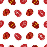 Vector seamless pattern background with decorated red eggs for Orthodox Easter Day, Pascha or Resurrection Sunday. - 252873291