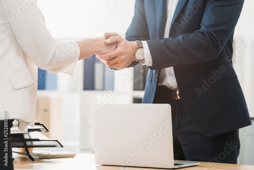 cropped view of man shaking hands with woman at office