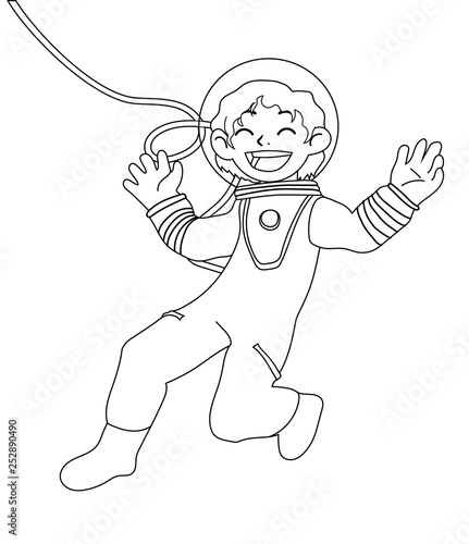 Children illustration with a happy girl astronaut