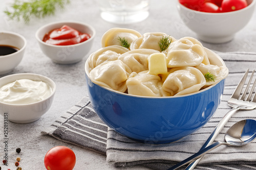 Homemade meat dumplings - russian pelmeni. Dumplings, filled with meat, ravioli. Dumplings with filling - 252893851