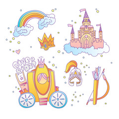 Cute cartoon magic princess icon collection. Icon princess set with princess castle, rainbow, brougham, royal crown and medieval armour. Princesses magical icons
