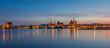 Leinwandbild Motiv Stralsund – Hafen-Panorama zur Blauen Stunde