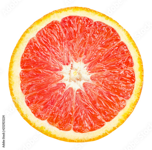 Isolated red orange fruit. Slice of fresh red orange isolated on white background with clipping path - 252923224