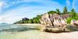 Leinwandbild Motiv Strand Panorama am Anse Source d'Argent, La Digue, Seychellen