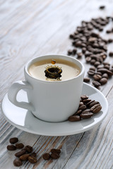 Coffee in white Cup.