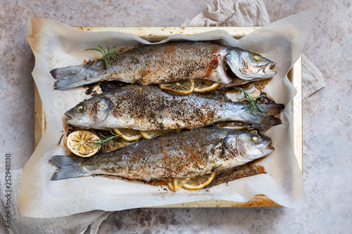 Fish seabass roasted with lemon and herbs - 252948030
