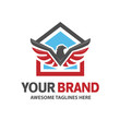 Eagle and house for real estate logo emblem template vector.