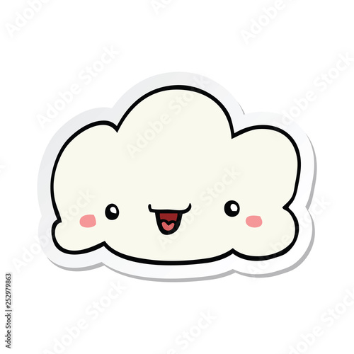 sticker of a cartoon cloud - 252979863