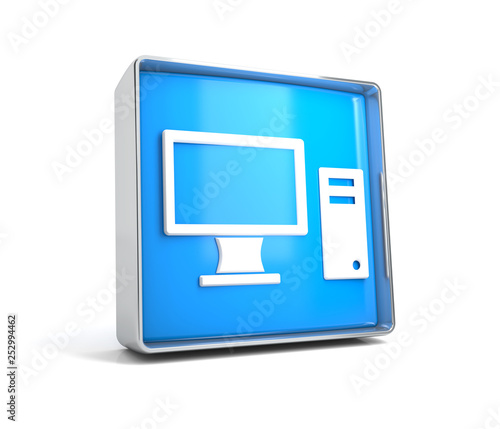 Computer - web button isolated on white background