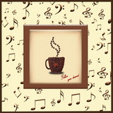 Creative concept photo of a cup of coffee and hearts  made of coffee beans on a background of musical symbols. Inscription
